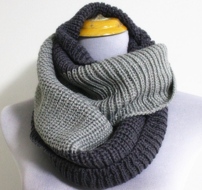 Light Grey Knitted Infinity Scarf Crowl Unisex by ...