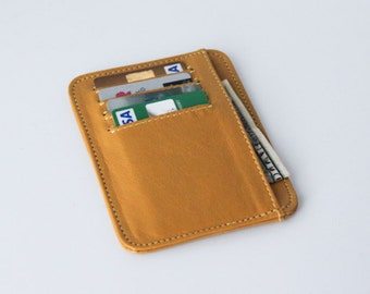 small wallet / card holder - Yellow leather