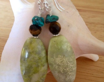 Lemon Jasper and Tigers Eye Earrings.