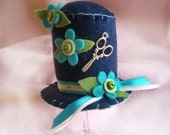 Hat Pincushion - Navy blue, turquoise and green, Craft Supplies, Pincushion