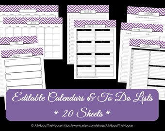 PURPLE EDITABLE - To Do List and Calendar Set Perpetual Calendar Household Binder Chevron Printable Do List Pdf Day Planner Instant Dl