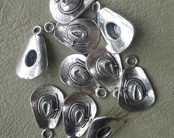 10 Tibetan Silver Cowboy Hat Pendants