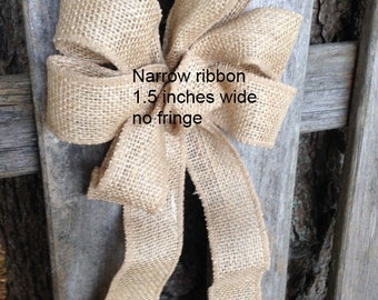 Burlap bow rustic country wreath bow, Chair Pew wedding light brown fall winter gift package bows
