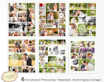 Photo Collage Templates - Photoshop Collage Templates - Storyboard Templates - PSD Templates - Photography Photo Templates 16x20- CPZ024