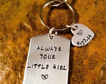 Father Of Bride Keychain, Dad Keychain, Always Your Little Girl Keychain, Aluminum Keychain