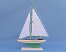 "Decorative Sailboat in Five Different Colors 17"" Sail boat Model Replica / Nautical Wedding Banquet Table Centerpiece Center Piece"
