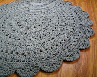 Round crochet doily rug / crochet carpet / crochet rug / gray / white / pistachio / green / red / blue / yellow / claret / black / navy