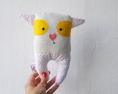 Confused Dog Soft Toy for babies. Baby soft toy Pink Dots and Yellow eyes