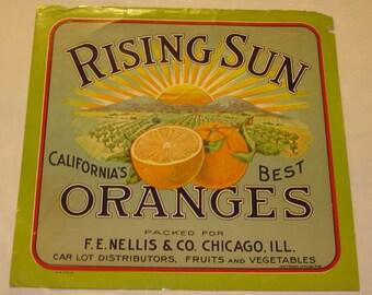 Rising Sun Original Crate Label California Citrus circa 1930