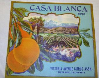 Casa Blanca Crate Label Original 1930's