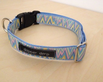 "Pastel Blue Pink  and Yellow 1"" Dog Collar"