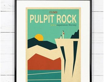 Travel poster, Pulpit Rock, minimalist art print, Nordic, explore Scandinavia, Scandinavian landscape, hike, climb, mountains, wall decor