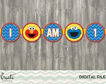 Sesame Street High Chair Banner | I am One banner | First birthday party | Elmo and Cookie Monster Banner