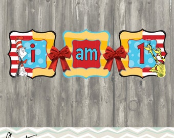 Dr Seuss High Chair Banner | Dr Seuss banner | cat in the hat birthday party
