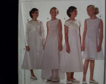 burda 9654 Girls (sizes 8, 9, 10, 12, 13jun, 14jun) Formal dress with underskirt and jacket