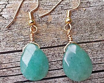 tear drop green aventurine earrings