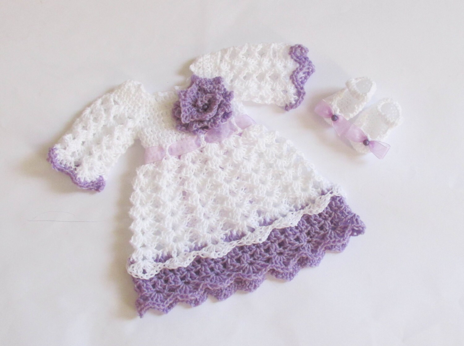 Baby dress shoes in white purple color baby by paintcrochet