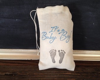 Its a Boy Baby Footprint Favor Bag Baby Shower Stamped Muslin Cotton Bag Party Gift Rustic Theme Set of 10