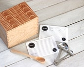 Heirloom Recipe Box and Cards - Aztec Tribal Pattern Design Wooden Engraved Recipe Card Holder With Recipe Cards