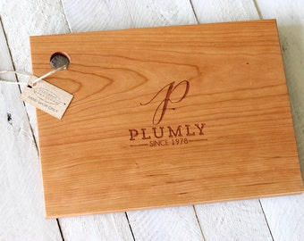Custom Personalized Wood Cutting Board - Initial, Name, and Date Design