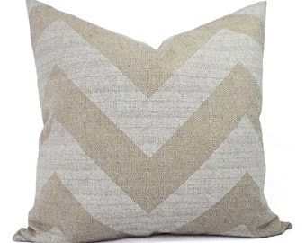 Two Chevron Couch Pillow Covers - Cream and White Pillows - Decorative Throw Pillow - Rustic Pillow Cover - Accent Pillow
