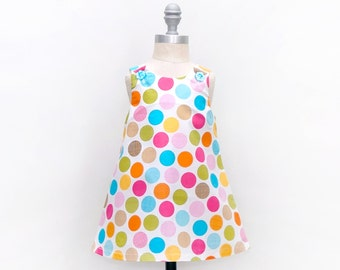 Polka Dot Jumper Dress - Colorful Jumper Dress - Girls Boutique Dress - Cute Girls Dress - Photoshoot Dress