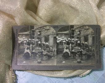 1900s Stereoscope card by Keystone View Company -  Manufacturing Woolen Shawls - Srinagar, Kashmir India.