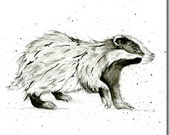 Badger Greeting Card - Animal Card, Watercolour, Blank Inside, Woodland Theme