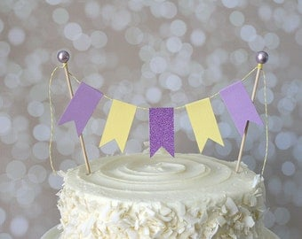 Purple & Yellow Cake Bunting Pennant Flag Cake Topper-MANY Colors to Choose From!  Birthday, Wedding, Shower Cake Topper