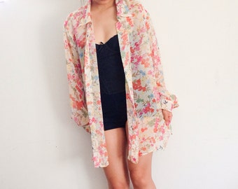 Women's vintage sheer floral oversized shirt