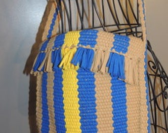 P000022 Cross Body Hobo Messenger Bold Yellow Blue Vertical Stripe Crochet Fringed Hippy Chic Shoulder Bag -by God Oddities Decor on Etsy