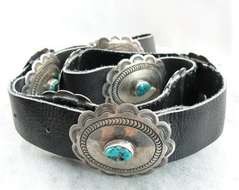 Vintage Turquoise Concho Belt, Native American Silver and Black Leather - N99QDH-N