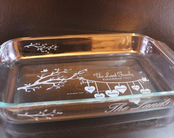 Family Tree Etched Baking Dish with Lid -  Anniversary, Birthday, Special Occasions