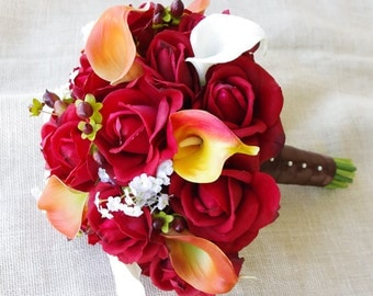 Fall Wedding Natural Touch Orange and Red Roses Silk Flower Bride Bouquet - Almost Fresh