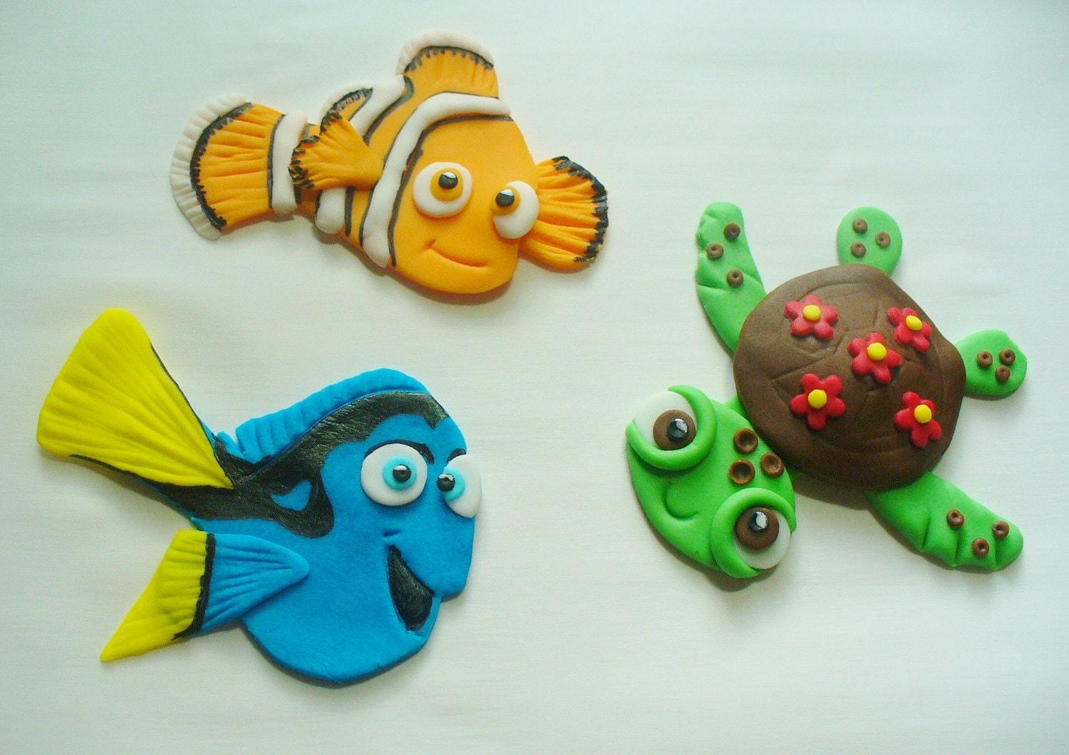 2d Nemo Dory Squirt Edible Fondant Flat