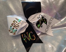 Mascot cheer bow Hornets rhinestone personalize green red blue gold black purple pink etc