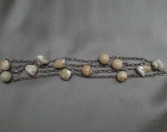 925 Sterling Silver and Natural Shell Necklace: Boho Chic Vintage Necklace of Treasures from the Sea