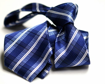 Tie (3 inch) in Stripes with Blue, White, Black
