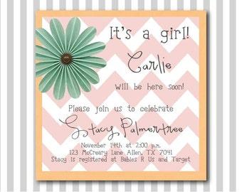 Baby Girl Chevron Shower Invitation Pink and Orange