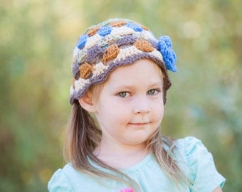 Crocheted Shabby Chic Beanie Girl Flower Ready to Ship