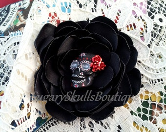 Book of Life Inspired, Day of the Dead, Sugar Skull Wedding Accessory, Dia de los Muertos, Satin Hair Clip Flower, Brooch, Halloween