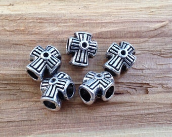 10 pack, Metal Easter Cross  Beads for Paracord Lanyards, Key Fobs, Bracelets and Leather pieces