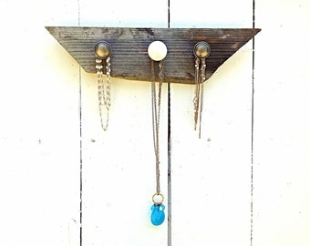 Driftwood jewelry display, holder and organizer-brushed nickel and white knobs