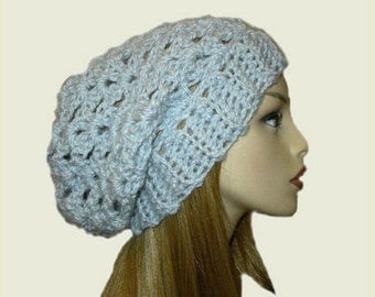 Slouchy Beanie Hat Light Blue Knit Spring Slouchie Women Teen Periwinkle Baby Blue Beany Crochet Hat