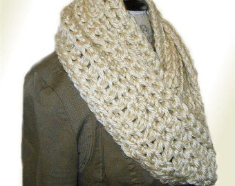 Infinity Scarf Cowl Long Knit Chunky Circle Scarf Handmade Crochet Cream Super Soft Warm Bulky Yarn Excellent Gift Idea