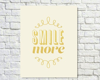 BUY 2 GET 1 FREE Typography Wall Art, Type Poster, Motivational Print, Inspirational Quote, Gold,Pastel, Type Decor, Girls Room - Smile More