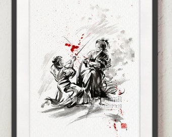 Samurai, Samurai armor, samurai art, samurai poster, watercolor painting, japanese armor, sumi-e, japanese painting, samurai illustration