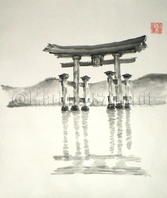 Items similar to Torii Gate Black White lake river water ...