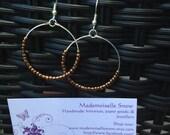 Silver Hoop Earrings -Beaded Earrings - Seed Bead Earrings Silver Plated - Bronze Beaded Earrings - Womans jewellery -