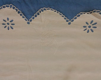 Beautiful old linen, edge scalloped and embroidered cloth.